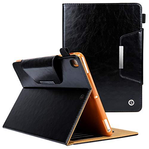 UUcovers iPad 9,7 Zoll iPad Hülle (iPad Air 1/2, Pro9.7, iPad 2017/2018) Hülle, PU Leder Auto Wake/Sleep mit Karten/Geldfach Stiftschlaufe für Apple iPad 9.7 (5./6.), schwarz