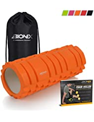 Bionix Foam Roller Kit with Travel Bag and eBook For Deep Tissue Muscle Massage Roller | Best Trigger Point Grid For Aching Back Calf Tension & Myofascial Release Sports Therapy | Gym Fitness Exercise