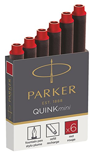 Parker Quink 6 cartouches courtes stylo plume, encre rouge