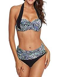 69cbae1a128edc KISSLACE Damen Reizvoller Zweiteilige Bikini Set Push Up Gepolstert Cups  Mit Bügel Bandeau Badeanzug Bademode Monokini