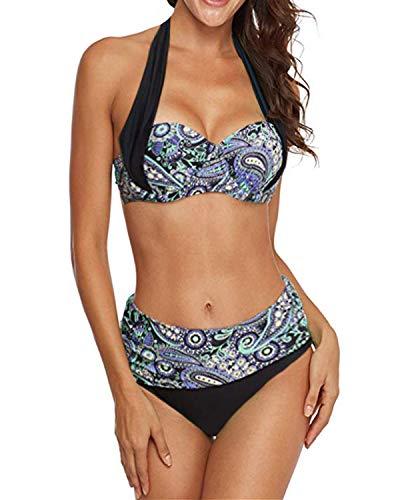 KISSLACE Femme Maillots de Bain Brésilien Deux pièces Sport Push Up Bikini 2 Pieces Bandage Maillot Ensemble Bikini Bandeau Mince Slim Cache Ventre B-Violet S