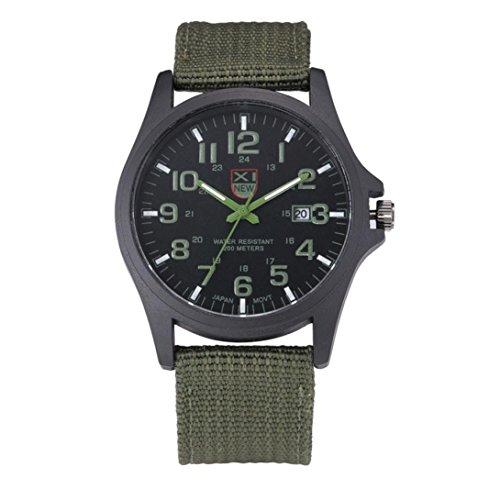Herren Sport Armbanduhr, Zolimx Datum Edelstahl Militär Analog Quarz Armee Uhren (Grün)