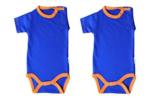 Kurzarm-Babybodys 2er Pack blau/orange Grösse 62 Body Unisex aus 100% Baumwolle mit Druckknöpfen