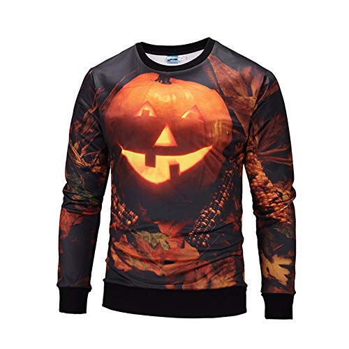 3D-Pullover 2018 Langarm männlichen Kürbis Lampe 3D Pullover europäischen und Amerikanischen Pullover Halloween Kostüm XXL Brown