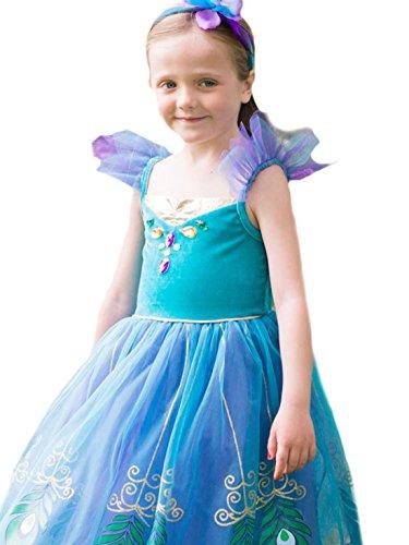 erdbeerloft - Mädchen Kostüm Karneval Prinzessin Fairytale Peacock Pfau Kleid, Mehrfarbig, Größe 116-128, 6-8 (Und Biest Kostüme Schöne Das Die Bühne)
