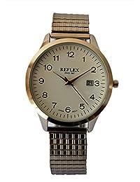 Hommes Reflex Cadran Blanc Rond de montre avec Date dispay et écarteur en acier inoxydable Argent Bracelet refx0007