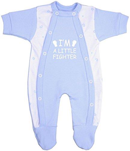 BabyPrem Frühchen Baby Kleidung Schlafanzüge Strampler Kleine Kämpfer 44-50cm BLAU PREM 3