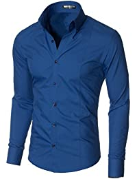 161b62db1 MODERNO Mens Dress Shirts - Slim fit, Long Sleeve with High Button Down  Collar - for Casual, Formal Wear…