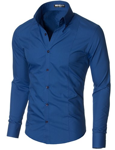 MODERNO Herren Hemd Slim Fit Langarm, Höhe Kragen Button down, Business Hemden (MSSF501) Blau EU S (Anzug Button-down-hemd,)
