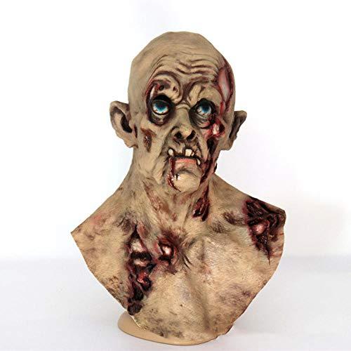 Dtcat maschera per la testa mascherata copricapo soffice,maschera maschera per uomo vecchio,parrucca da zombie in lattice horror di halloween stregata,maschera horror spaventosa a testa piena