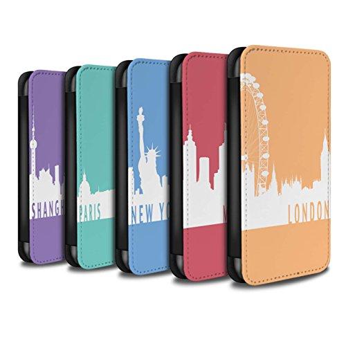 Stuff4 Coque/Etui/Housse Cuir PU Case/Cover pour Apple iPhone X/10 / Paris/Turquoise Design / Toits de la Ville Collection Pack 5pcs