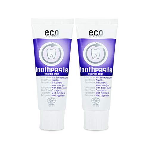 ECO COSMETICS Schwarzkümmel Zahncreme (2 x 75 ml), Bio Zahnpasta, Vegan, Fluoridfrei, Naturkosmetik