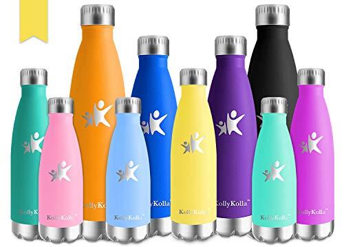 KollyKolla Vakuum Isolierte Edelstahl Trinkflasche, 750ml BPA Frei Wasserflasche Auslaufsicher, Thermosflasche für Sport, Outdoor, Fitness, Kinder, Schule, Kleinkinder, Kindergarten (Hellgelb)