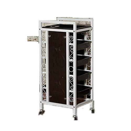 B-K Friseurwagen 5 Schichten Salon Beauty Cart Friseur Roll Speicherorganisator Holzseitenwand Make-Up Fällen Spa Utility Carts für Haar Styling Räder Rack -