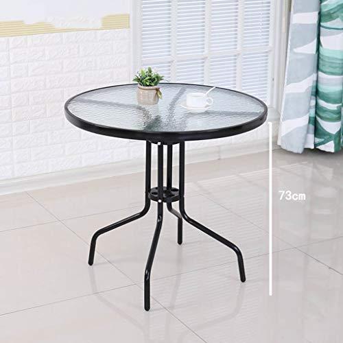 JXXDDQ Runder Tisch und Stuhlkombination aus gehärtetem Glas im Freien Faltbarer Kleiner Tisch moderner minimalistischer schmiedeeiserner Esstisch zufälliger Couchtisch schwarz (Size : 90cmx73cm) -