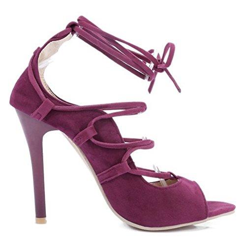 TAOFFEN Femmes Sandales Occidental Peep Toe Lacets Talons Hauts Chaussures Violet