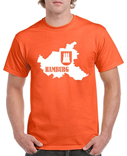 Comedy Shirts - Hamburg Landkarte mit Wappen - Herren T-Shirt - Orange/Weiss Gr. M