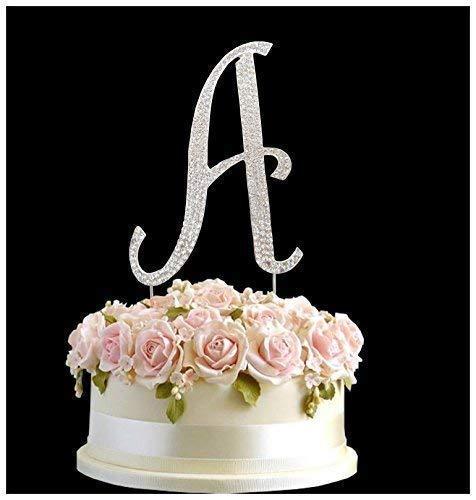 stag Jahrestag Tortenaufsatz Buchstabe A Sign Symbol Pick und Crystal Diamante Dekoration-A ()