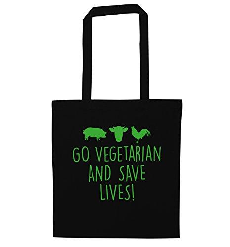 Go vegetarian and save lives tote bag