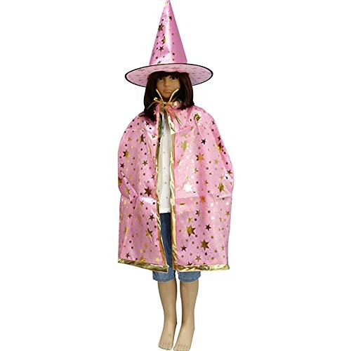 Halloween-Mantel Fünf-Sterne-Kinder Magier Kostüme Stern Mantel Mantel, Rosa