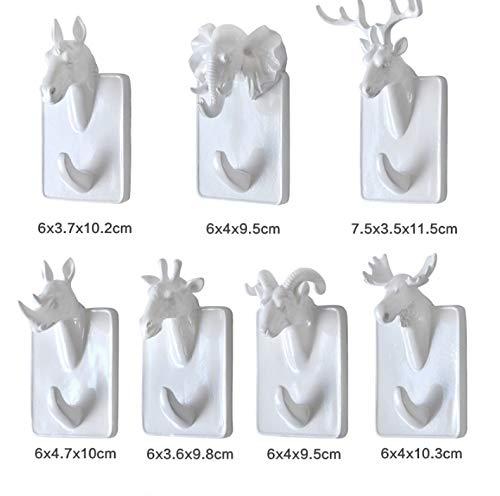 Gu3Je Kreativ Tier Form Wandhaken Kleiderhaken - Mini Tierstilen, geeignet für Dekoration, Kleidung, Schlüssel, Taschenaufhängung Weißer Elefant -