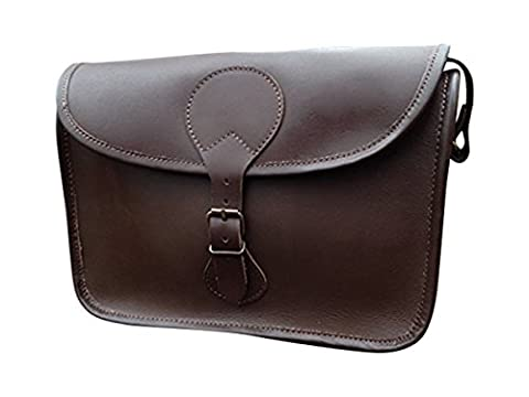 HAND MADE SERGUIO ROGETTI LEATHER CARTRIDGE BAG SATCHEL SHOOTING WITH STRAP BROWN LEATHER