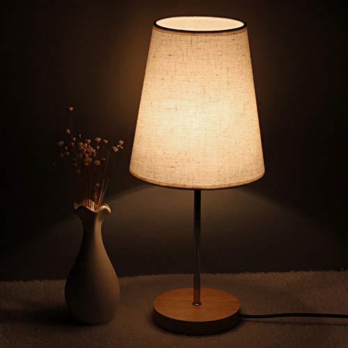 H.ZHOU Modern Nachttisch Lampen Wohnzimmer, Nachttisch Schlafzimmer Schreibtisch Warm Warm Licht Stoff Knopf Schalter, um Lampe aus Holz Mode kleine Tischlampe zu senden (Color : A1) -