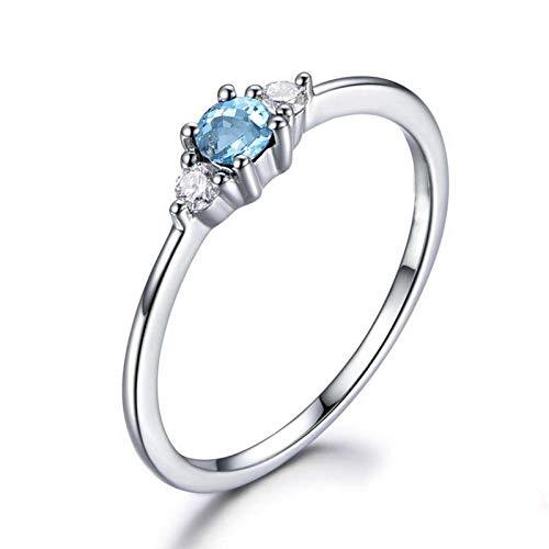 Bishilin Ringe 925 Silber Damen Kristall Blau Topaz Rund Hochzeitsringe Verlobung Ring Silber Größe 49 (15.6)