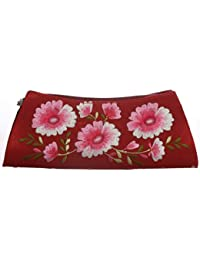 Soulful Threads Cotton Silk Floral Embroidered Maroon Clutch