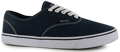 Coucher de soleil pour homme à lacets Chaussures Dentelle Toile Style Patineuse classique bleu marine/blanc