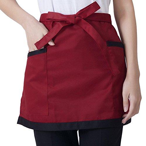 Grembiule corto unisex universale, grembiule da cucina per donna uomo cameriere grembiule da cuoco con tasche
