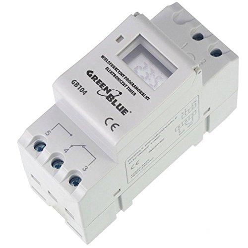 GreenBlue GB104 - Programador eléctrico digital diario semanal tipo carril DIN 16A...