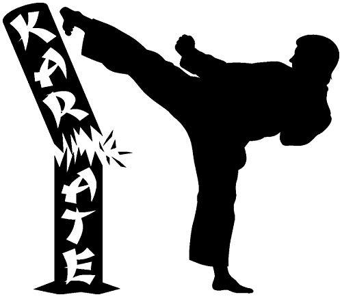 Samunshi® Aufkleber Karate Karatekämpfer in 7 Größen und 25 Farben (15x13cm schwarz)
