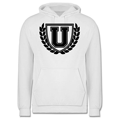Anfangsbuchstaben - U Collegestyle - Männer Premium Kapuzenpullover / Hoodie Weiß
