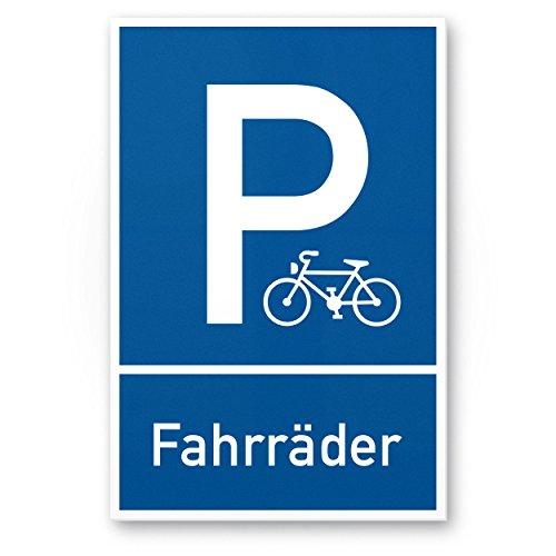 Parkplatz, Stellplatz Fahrräder PVC Schild (blau, 20 x 30cm), Hinweisschild Fahrradparkplatz, Stellplatz Reserviert für Fahrräder - abstellen, Parken für Fahrradfahrer (Fahrrad Schild)