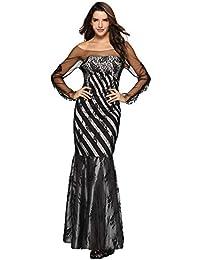 Vestito Lungo Vestiti da Donna Casual Stile Impero Moda Stampare Senza  Spalline Pizzo Patchwork Festa Lungo bffeb8163dc
