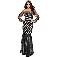 Vestido Sexy Vestido de cóctel Maxi Largo Largo sin Tirantes del cordón del Remiendo