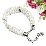 Hund Katze Kragen Drei Reihen von künstlichen Perlen Teddy Dog Halskette für Haustier Schmuck (creme-weiß) Geschenke für Haustiere