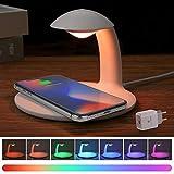AURSEN LED Dimmbare Nachttischlampe mit Ladefunktion, Touch Control Tischlampe, RGB Farbwechsel Stimmungslicht, 10W Qi Ladestation für Samsung/iPhone/HUAWEI/Sony (mit Wireless Charger QC 3.0 Adapter)
