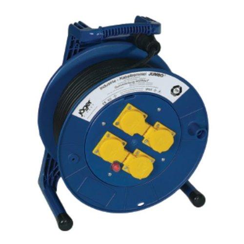 Jumbo 4000873460, KAYSER GmbH Enrouleur de câble Ku. L.50 m 4 x H05RR-F 3 x 1,5 mm2 Schuko avec protection thermique