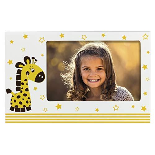 """Hama Baby und Kinder Bilderrahmen """"Giraffe Greta"""" für Foto-Größe 10 x 15 cm (Fotorahmen aus Holz (MDF) mit Giraffen-Motiv, zum Aufstellen und Aufhängen, Echtglas) weiß"""