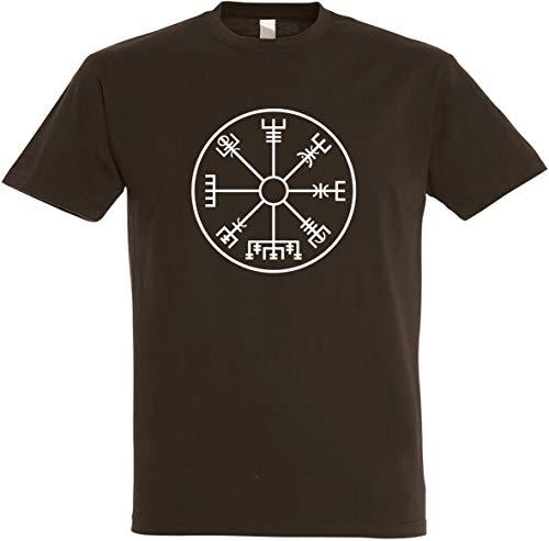 Textildruck Universum Herren T-Shirt Wikingerkompass S bis 5XL (4XL, Dunkelbraun)