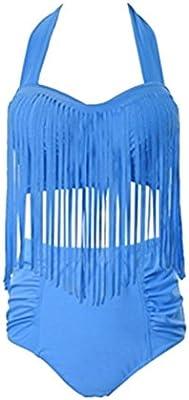 jxstar Plus tamaño de la mujer retro cintura alta borla de flecos para decoración tops para mujer Bikini Sets