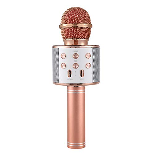 Profi-Bluetooth Wireless Mikrofon Lautsprecher Handheld Microphone Karaoke Mic Music Player Singing Recorder KTV Mikrofon,Rosegold