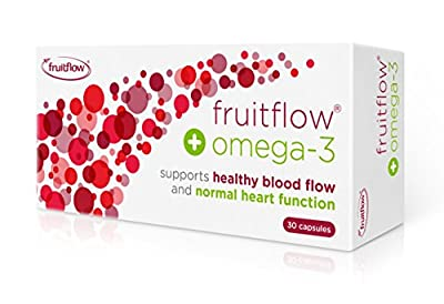 Fruitflow® + Omega-3 fish oil food supplement 30 one-a-day capsules for healthy blood flow & normal heart function from Provexis