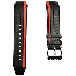 Lotus Marc Marquez Bracelet en caoutchouc pour modèles 18103, Noir avec bande rouge