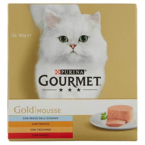 PURINA GOURMET GOLD Umido Gatto Mousse con Pesce, con Fegato, con Tacchino, con Manzo Prelibato  - 8 lattine da 85g ciascuna