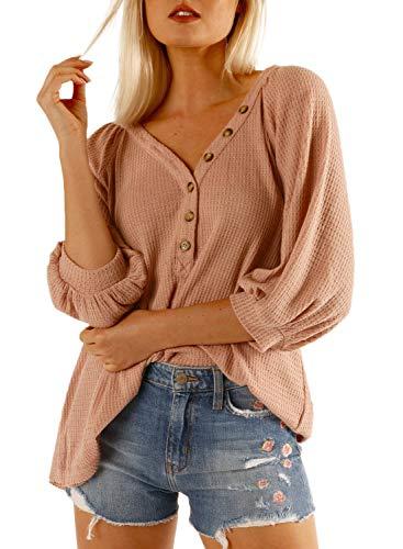 Dokotoo Damen T-Shirt Sommer Top Knopfleiste Bluse Einfarbig Kurzarm T-Shirt Casual Bluse Tunika Tops Rosa L (EU44-EU46) -