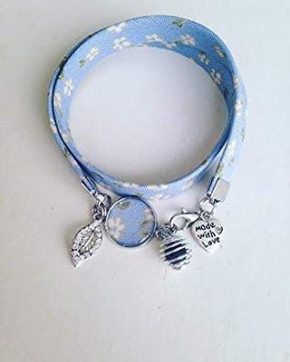 Bracelet Liberty fleuri bleu, bijou Liberty, bracelet en tissu liberty, idée cadeau, bracelet parfum, bijou, bracelet fleuri, bijou Liberty