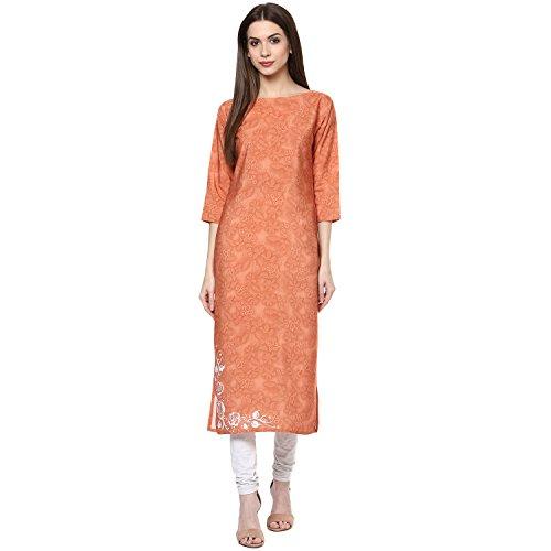 Ziyaa Women's Straight Fit Synthetic Kurta (ZIKUCR1518-XXL-orange-XXL)